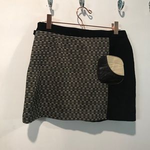 Cystoc Barcelona vintage mini wool leather skirt